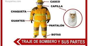 partes del traje de bombero